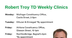 Image detailing Weekly clinics times and locations for Robert Troy TD