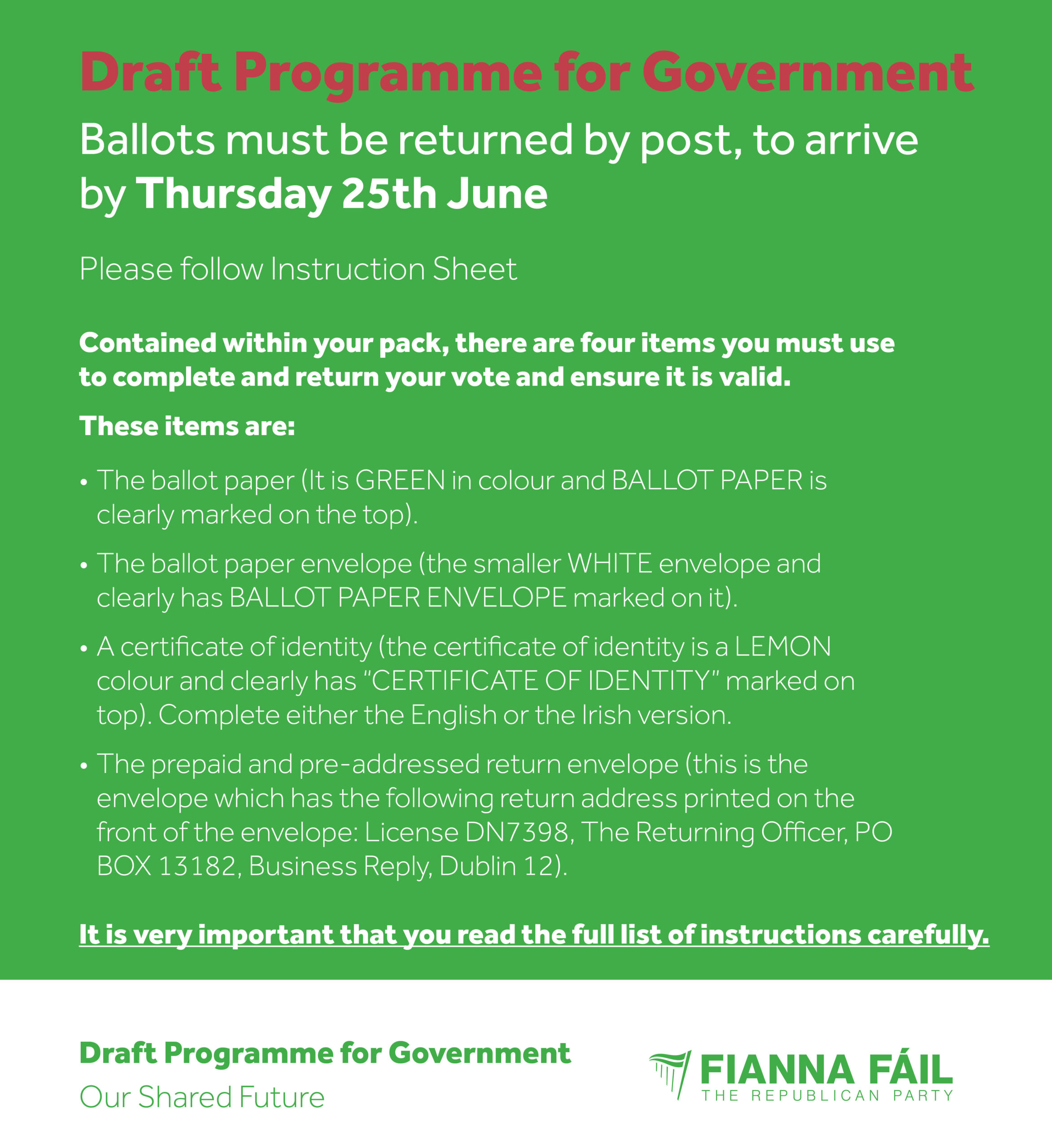 Image detailing steps for ballot for Programme for Government in Fianna Fail