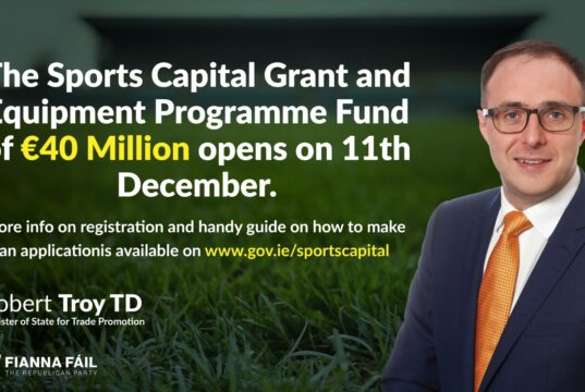 Image of Robert Troy and details of the Sports Capital Grant 2021 and how to apply